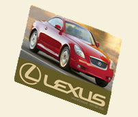 Image of gift card with red Lexus on it