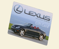 Image of gift card with black Lexus convertible on it