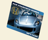 Image of gift card wth silver Honda on it