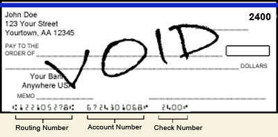 Image of a voided check and pointers to routing and account numbers