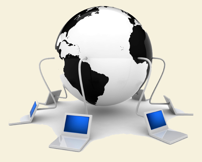Image of globe with computers connected to it